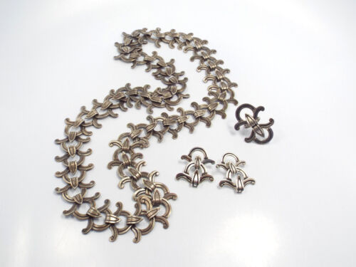 Vtg Victoria Taxco Ana Brilanti Sterling Silver Articulated Belt Earrings Ring