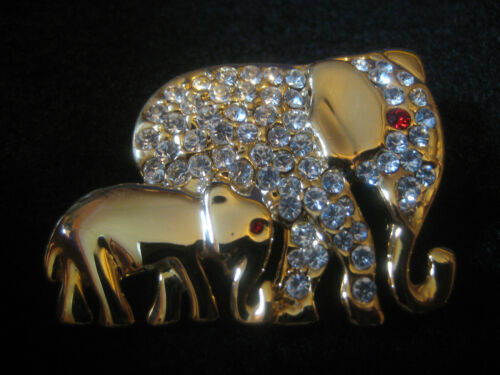 Elephant PIN mother baby rhinestone red eye goldtone unsigned