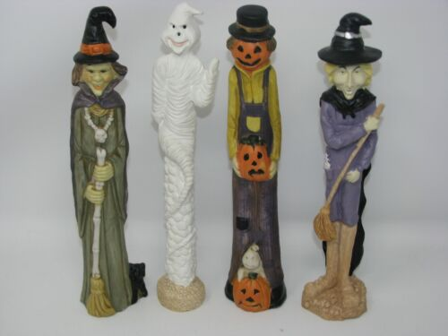 """Haunted Halloween Pencil Figures Hand Painted Porcelain/Resin Figurine 9.5"""" Tall"""