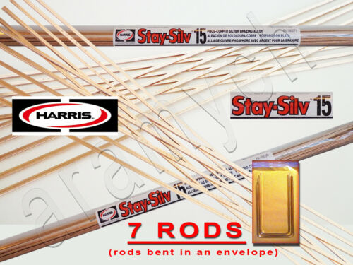 7 STICKS (7 RODS) HARRIS STAY-SILV 15% SILVER SOLDERING RODS. BCuP-5