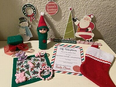 CHRISTMAS BABY ELF girl doll blanket bottle accessories ON THE SHELF PROPS