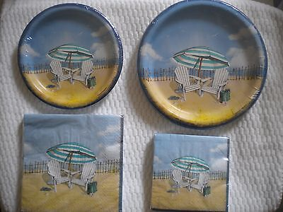 New Beach Chairs Theme  Paper plates ~ 2 sizes & Napkins ~ Cocktail & Luncheon
