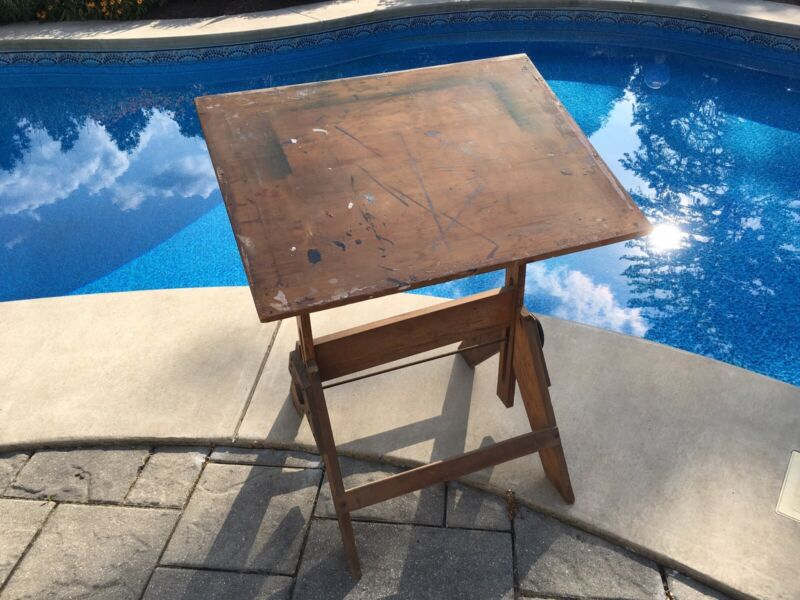 Vintage Industrial Style Oak Drafting Table Local Pick Up in Rochester NY