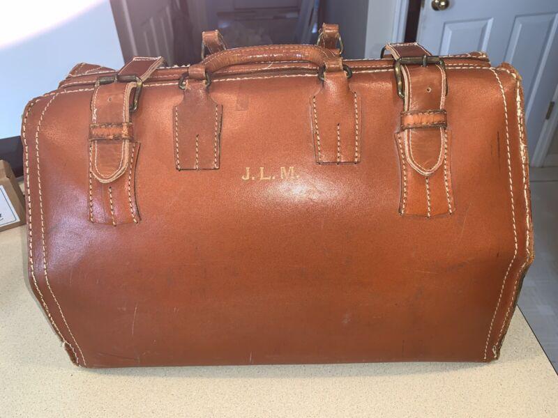 Vintage Large Cowhide Leather Doctor Bag Monogrammed Nice