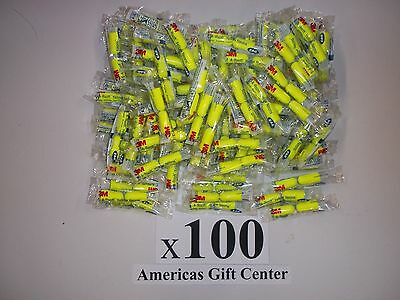 EarPlugs 100 Pair 3M Yellow Neon Soft Foam Value Individually Wrapped NRR 33DB