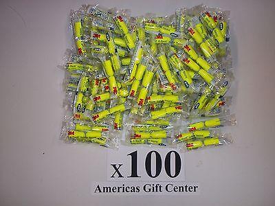 Earplugs 100 Pair 3m Yellow Neon Soft Foam Value Individually Wrapped Nrr 33db