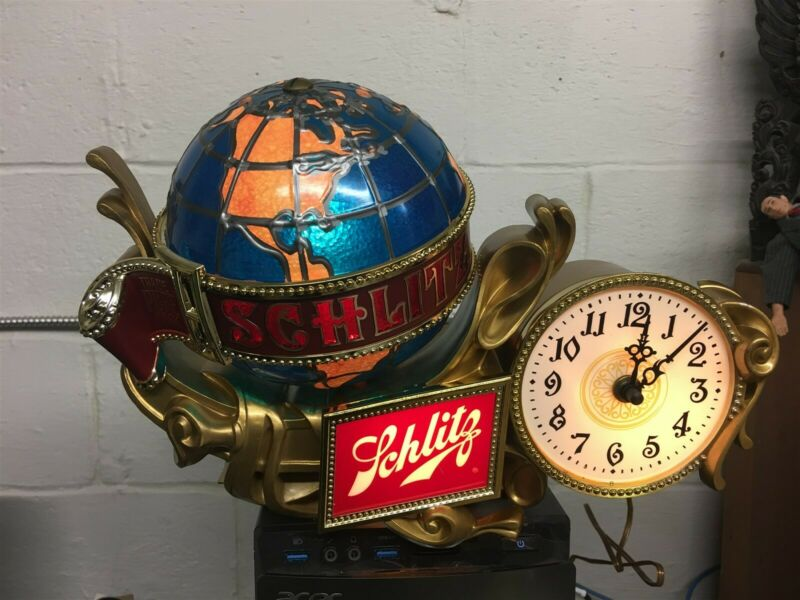 Schlitz Beer Grand Baroque Cash Register Sign Globe / Clock New OLD STOCK MIB