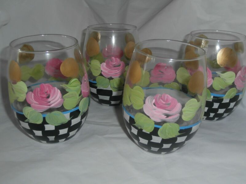 HAND PAINTED PINK ROSES WITH CHECKERBOARD/GOLD ON A SET OF 4 STEMLESS GOBLETS