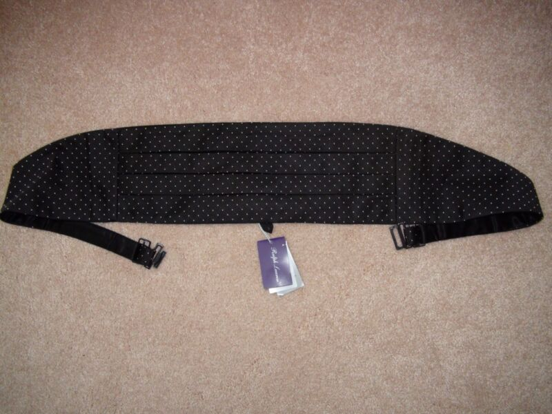 Ralph Lauren Purple Label Black Silk Tuxedo Cummerbund Polka Dots Size L/XL