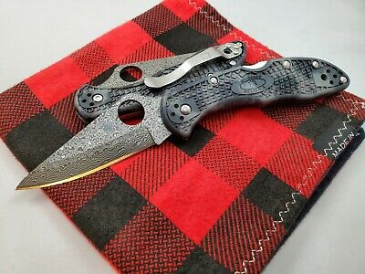 Spyderco Knives Delica Exclusive Zome FRN Damascus C11ZPGYD -- Authorized Seller