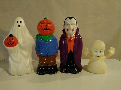 1990's Blow Mold Halloween Figures, Casper, Dracula, Pumpkin Head, Ghost, Used