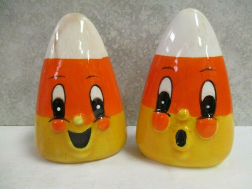 Set/2 Johanna Parker Candy Corn Salt Pepper Shakers Halloween Retro Reproduction