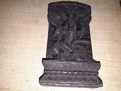 Ältere Asiatische Holzschnitzerei - Wandbild - Hinduismus - Tibet - 12,5 x 23 cm