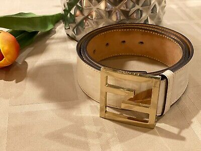 White Fendi Zucca White And Gold Belt