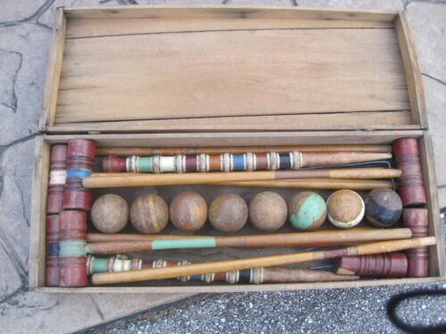 Antique Croquet Set- With Decorative Home Stakes
