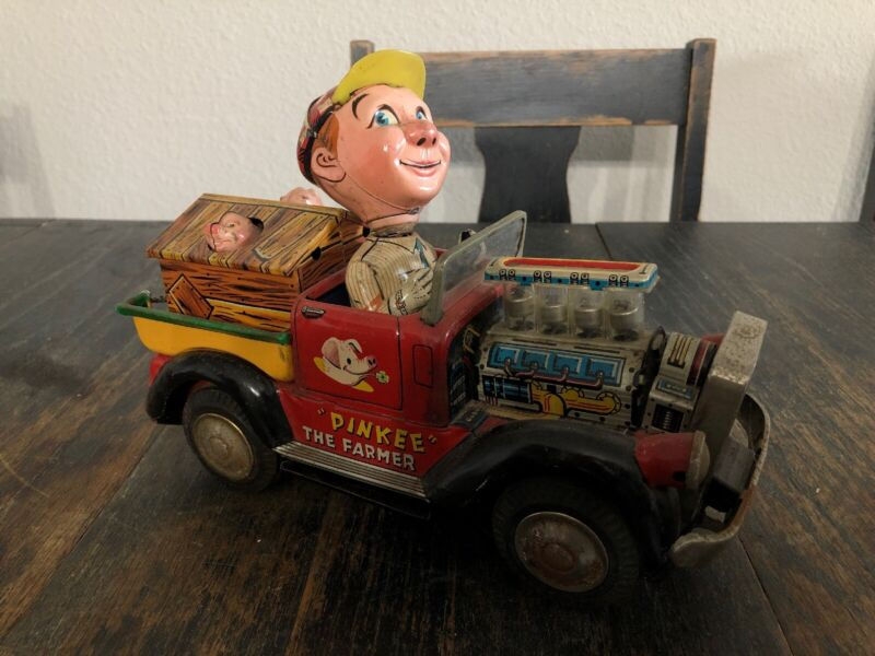 """Vintage """"PINKEE"""" THE FARMER LITHOGRAPHED TIN TOY - 1950"""