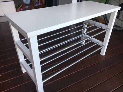 ikea tjusig bench with shoe storage bundled with other shoe rack