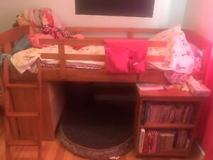 Loft bed with pullout desk, shelf and dresser
