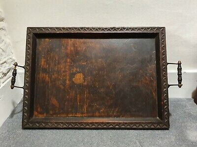 Antique Vintage Victorian Edwardian Wooden Tray with brass handles