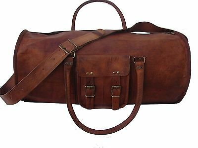 "New Men's duffel genuine Leather large vintage travel gym 24"" lightwieghted bag"