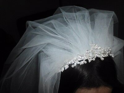 FIRST HOLY COMMUNION RHINESTONE/PEARL TIARA w Two Tier Satin Edged Veil White ](First Holy Communion Tiaras)
