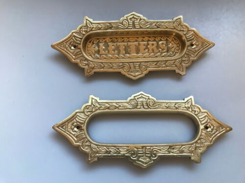 Door Letter Drop Mail Slot Brass Ornate Victorian reproduction 2 pieces