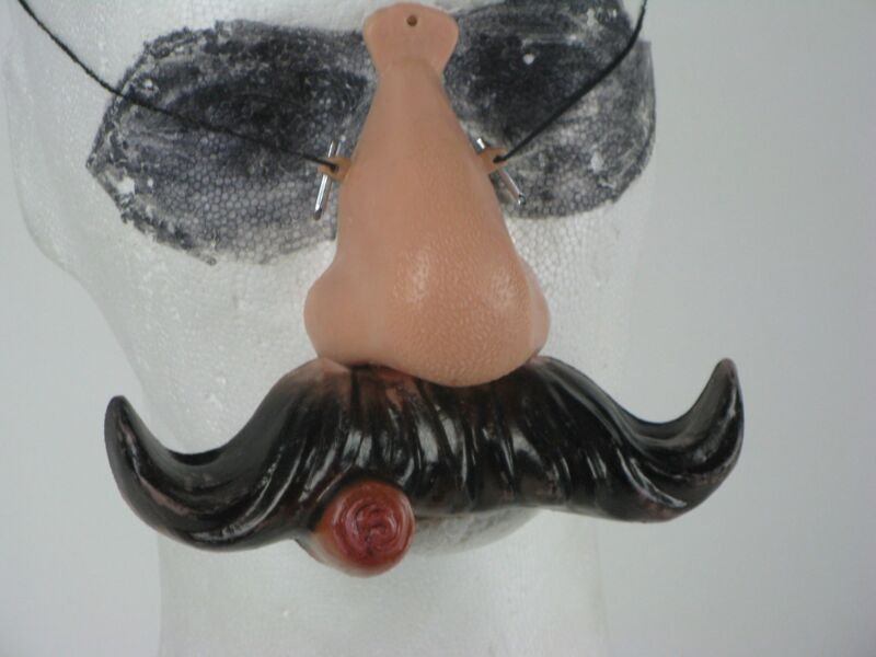 Vintage Nose & Mustache w/ Cigar Halloween Mask Costum Plastic Novelty