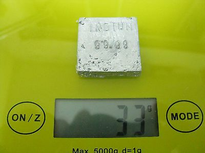 Indium 33 Grams Of 99.99 Pure Indium Bullion Metal Bar Ingot Great Investment
