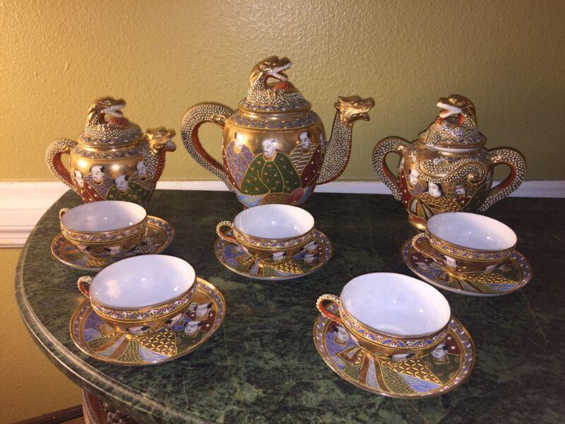 Vintage 20-pc Japanese Porcelain Ceramic Satsuma Dragon Moriage Tea Set