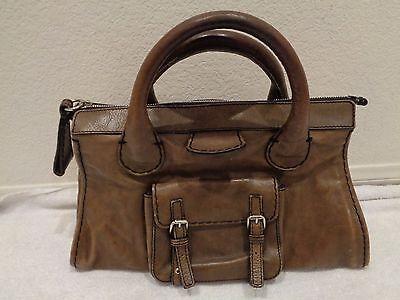 Chloe Olive Green Leather Edith Satchel Handbag Purse