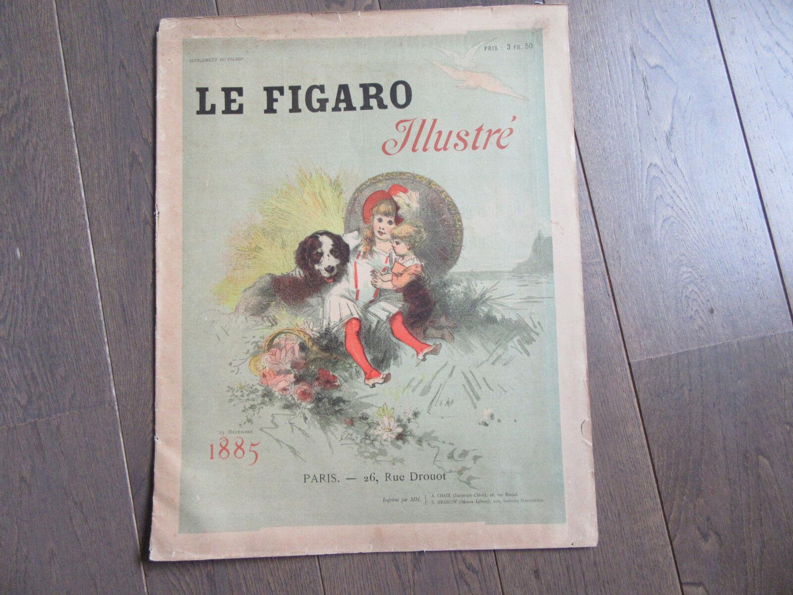 AFFICHE ORIGINALE CHERET 1885 COUVERTURE DU FIGARO ILLUSTRE 48 X 38 CENTIMETRES