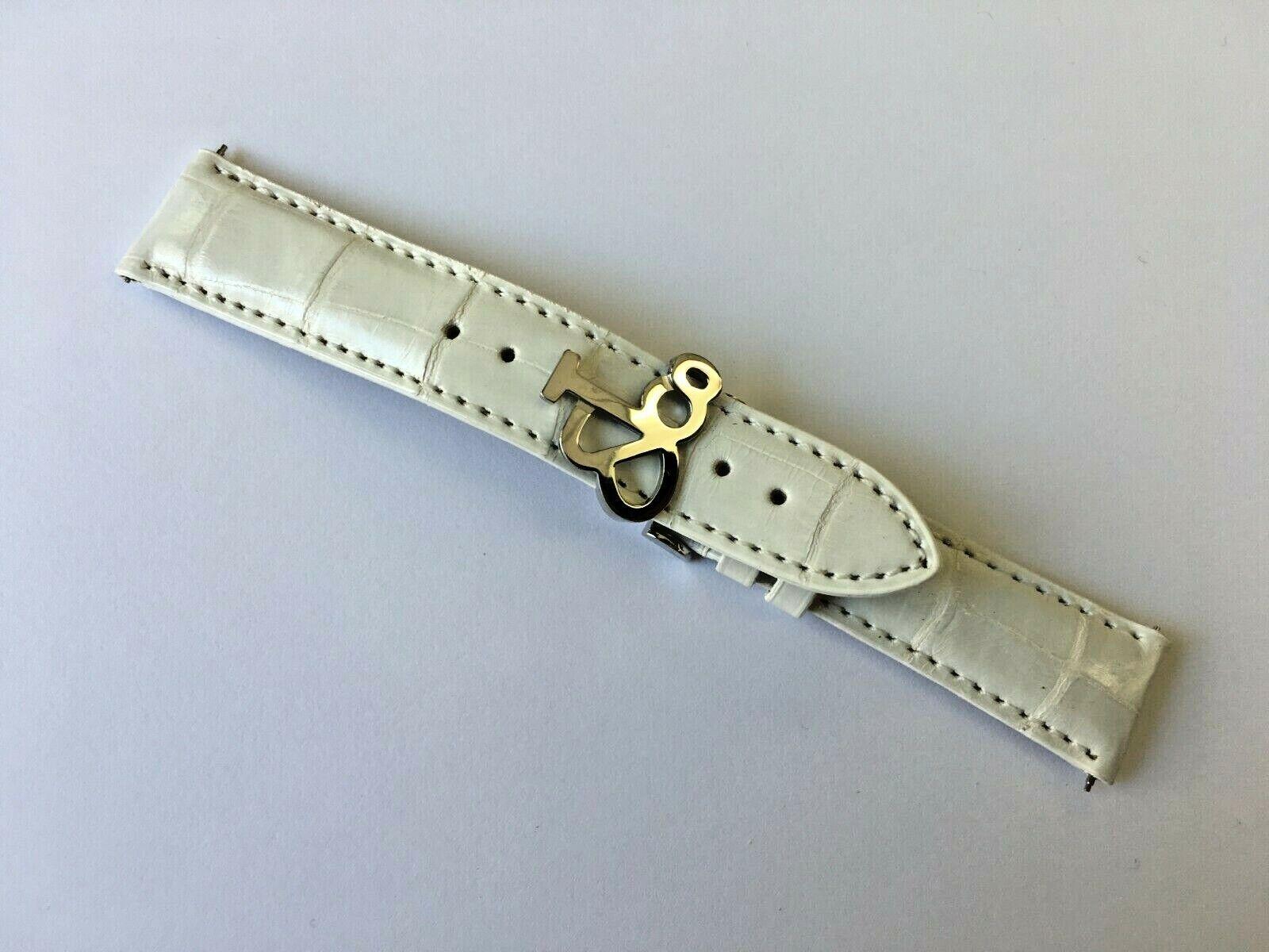 JACOB & COMPANY Uhrenarmband Alligator Weiß 20/18 mm mit Faltschliesse