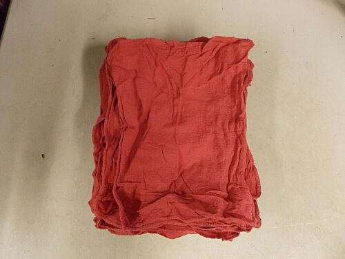 50 NEW INDUSTRIAL SHOP RAGS / CLEANING TOWELS RED COLOR