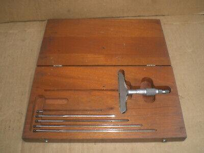 Starrett Depth Micrometer Non Rotating Blade 4 Inch Base No 449 Wood Case