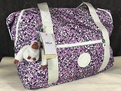 $119 Kipling Art M Oceano Breeze Purple Black XL Travel Tote Shoulder Bag