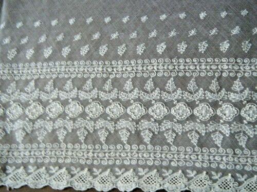 "Antique Trim 36""x15"" Burano lace tiny floral designs mesh petit reseau Europe"