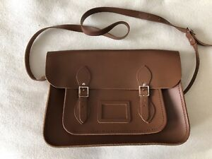 "a5b3bd52dfee Cambridge Satchel Company 13"" brown Leather Bag Purse"