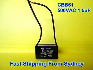 CBB61 500VAC 1.5uF Appliance Motor Capacitor 2 Wires 50/60Hz **NEW**