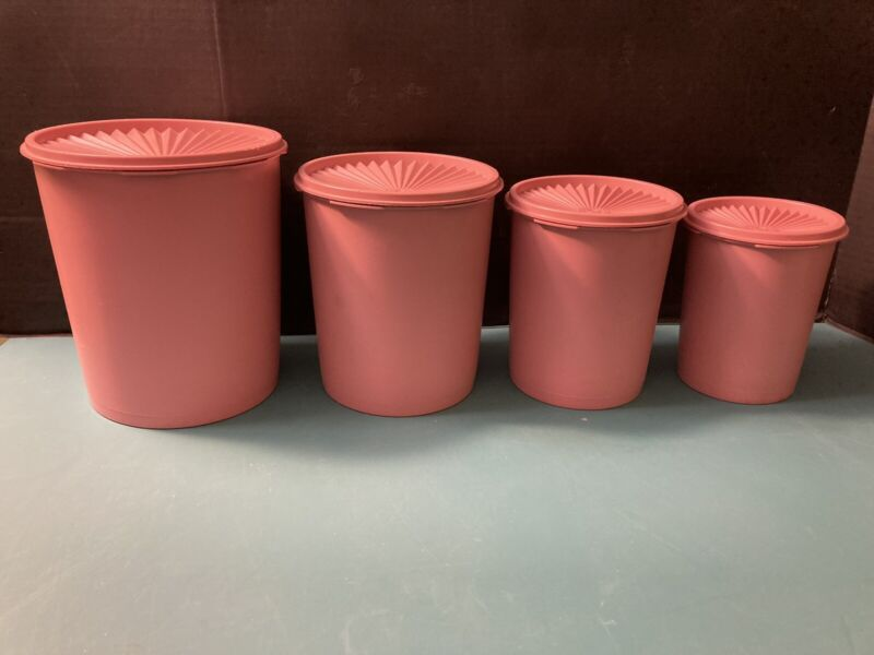 Lot of 4 Vintage Tupperware Pink Mauve Rose Canisters with lids