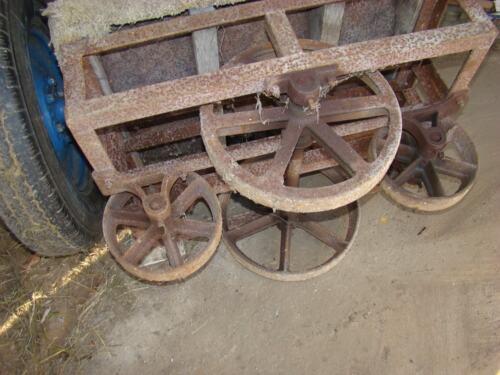 Vintage Factory Cart Steel/Cast Iron wheels