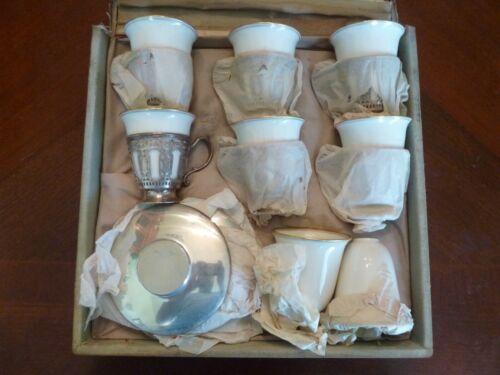 STERLING SILVER TIFFANY & CO 20pc DEMITASSE TEA OR COFFE CUP SET LENOX  W/ BOX