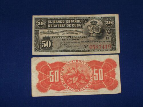 50 Centavos Bank Notes from Colonial Spain Issued 1896
