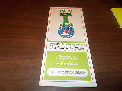 1968 Illinois Tollway Vintage Road Map And Guide