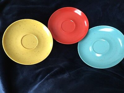 Kenro Holiday Saucers (3) Yellow, Blue, And Red