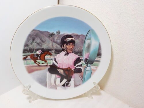 SANTA ANITA PARK HORSERACE COLLECTOR PLATE 2ND LAFFIT PINCAY ON HARBOR VIEW FARM