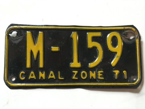 1971 Panama US Canal Zone Motorcycle License Plate All Original LOW $3.99 SHIP