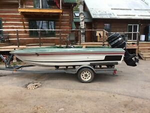 1989 boat, 150hp mercury, and trailer for sale