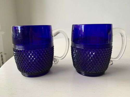 RARE set of 2 Cambridge Blue Cobalt Glass Diamond Point Mug Cup Clear Handle