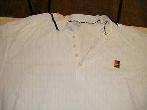 NIKE TENNIS VTG 1995-96 AGASSI SAMPRAS POLO WHITE NAVY WAFFLE XL