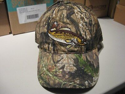 98c30f4ffa5b9 Mossy Oak Camo Cap   Front Embroidered Walleye   Mesh Panel Fishing Hat OSFM